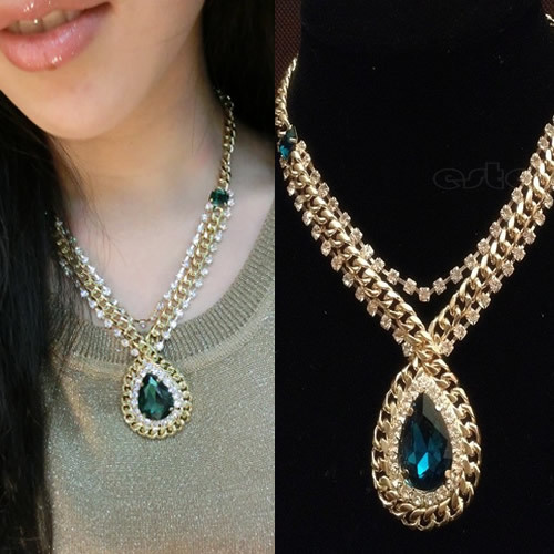 Nobility gold pleated blue green sapphire pendant necklace chain nobility gold pleated blue green sapphire pendant necklace chain chic jewelry aloadofball Image collections