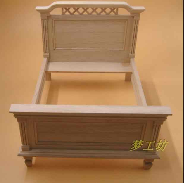 G08-X205 children gift Toy 1:12 Dollhouse mini Furniture Miniature rement wooden plain big bed D257