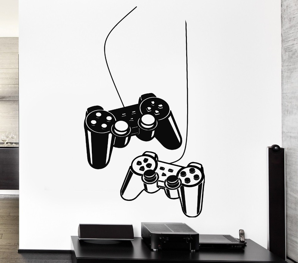 YOYOYU Joystick Wall Sticker Gamer Video Play Vinyl Decal Art Mural Poster Decoración del hogar Casa Dormitorio Playroom Decor Y-209
