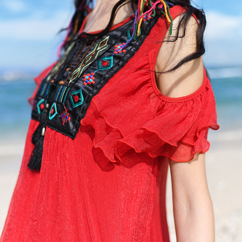 Tirantes Blusa Flojo Bordado 2017 Bohemia Lynette's Azul Camisa Sin Verano Color Mujeres Tipo Chinoiserie rojo Gasa 7wwgqYz