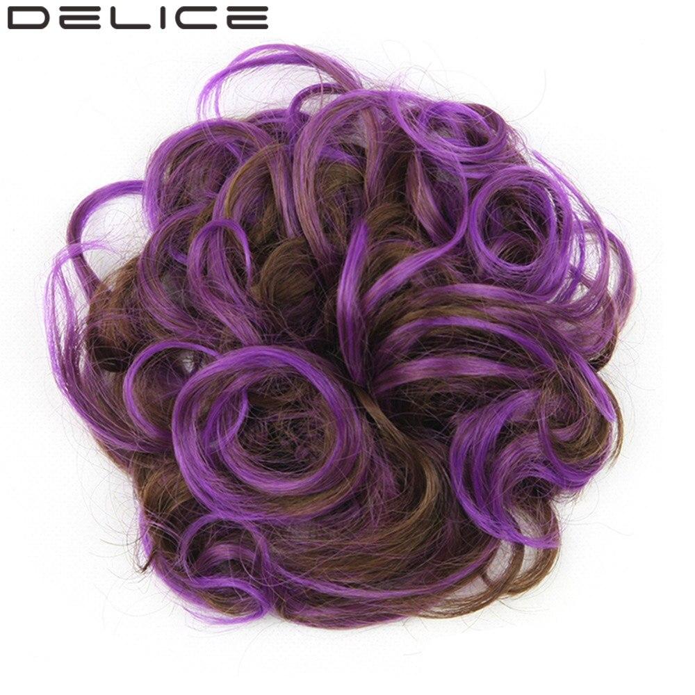 Delice Для женщин вьющиеся Гибкая Scrunchie теплостойкость Синтетические волосы Интимные аксессуары Обёрточная бумага с резинкой Chignon коричневый ...