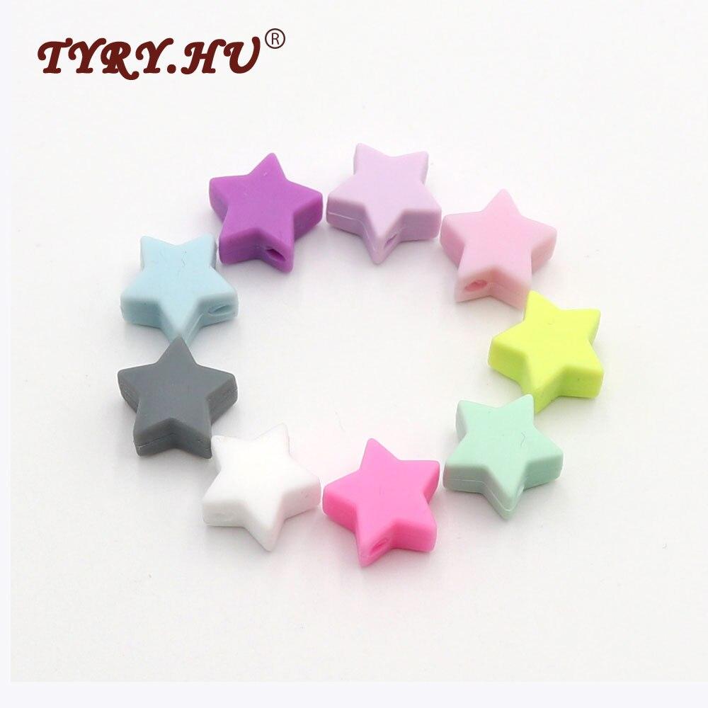 TYRY.HU Original Silicone Beads Star Shaped Baby Teether 25pcs 14mm DIY Jewelry Food Grade BPA Free Necklace Bracelets Bead