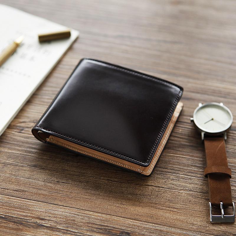 LANSPACE heren portemonnee, handgemaakt, van crup leer, met korte portemonnee, van hoge kwaliteit