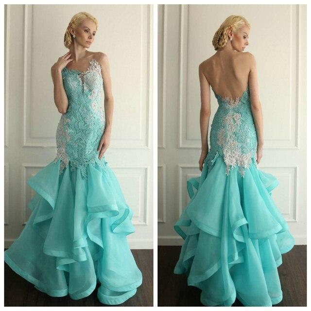 Aqua backless evening dresses