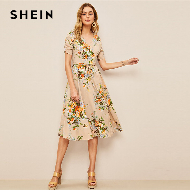 ba15888dc090c SHEIN Multicolor Ruffle Embellished Shirred Waist Floral Maxi Dress V Neck  Cap Sleeve Butterfly Sleeve 2019 Spring Dresses