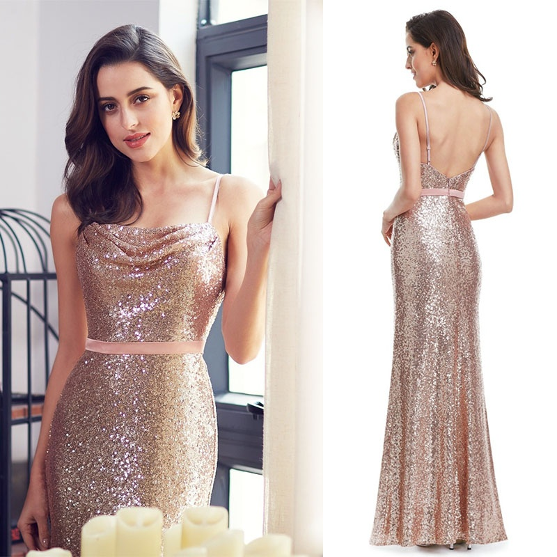 Long   Evening     Dresses   Sparkle Ever-Pretty 2019 New Gorgeous Long Sweet XXGR78070PEC Sequin Straight Party Gown   Dresses