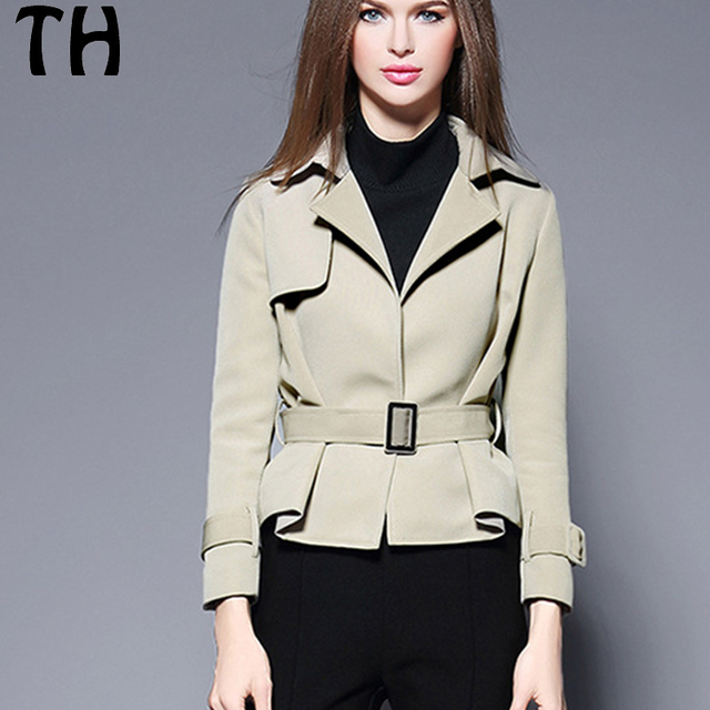 e64f37f7ec1a Spring Autumn Casual Blazers Women Slim Fit New Style Notched Long Sleeve  Short Blazer With Sashes