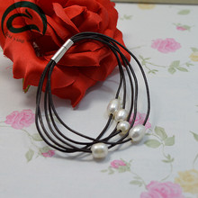 Unique 100% Natural Freshwater Pearl Bracelet Black  Leather White Jewellery Real Gift For Girl Friend