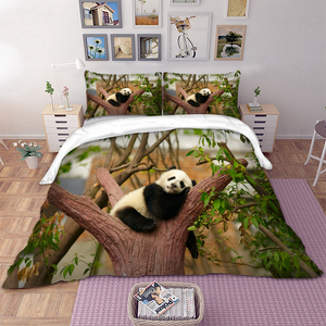 Image 2 - 3D panda on tree duvet cover bedding set single twin full queen king size polyster bedlinen