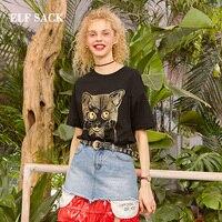 ELF SACK 2019 Spring Oversized TShirts Woman Casual Short Cats Print Ladies Tees Streetwear Harajuku Female Cotton Tshirts Tops
