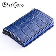 BISI GORO New Genuine Leather Wallet RFID Blocking Metal Card Holder Vintage Multifunction for Travel Dropshipping
