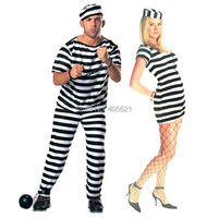 ผู้ใหญ่ชายหญิงแขนสั้นสีดำสีขาวลายนักโทษเสื้อผ้าชุดฮาโลวีนคลาสสิกคริสต์มาสแต่งหน้าคอส