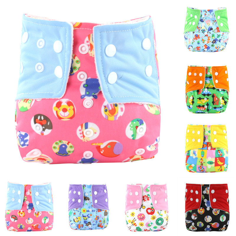 Hot sale Baby Waterproof Buckle Design Diaper Washable Contrast Color Printed Baby Diaper For 0-12months baby