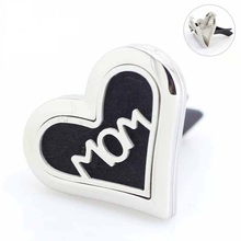 Mix Mom Heart Stainless Steel Car Aroma Perfume Locket Styles Essential Oil Diffuser Lockets 5pcs