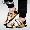 New Arrival 2017 Summer Male Sandals Men Gold Leather shoes Open Toe Sandals Slippers Fashion Casual Beach Gladiator Sandals
