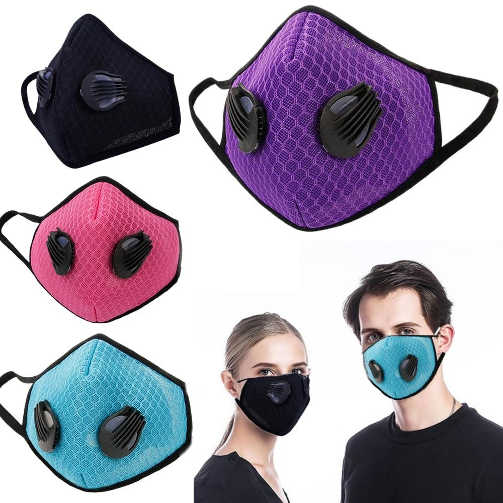 1Pcs Fashion Respirator Mask With Breathing Washable Gridding Mesh Activated Carbon Filter PM2.5 Mouth Masks