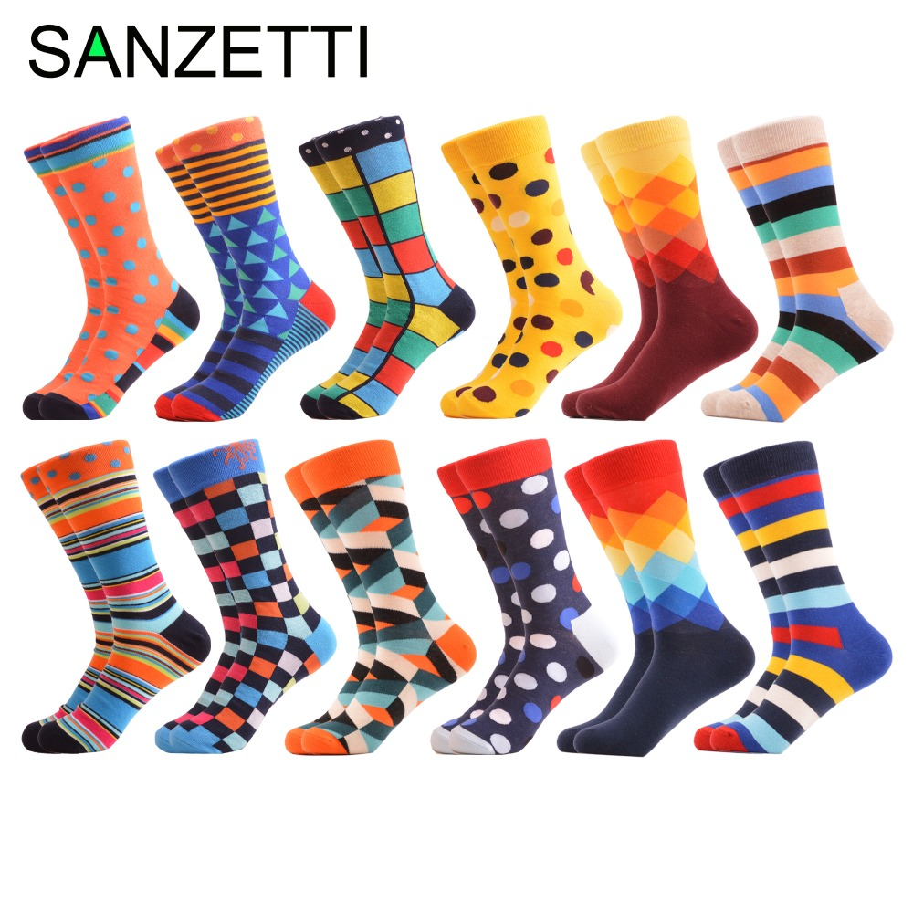 SANZETTI 12 Pairs/lot Colorful Cotton Men's Socks Happy Funny Hip Hop Street Style Sock For Male Wedding Birthday Party Gifts