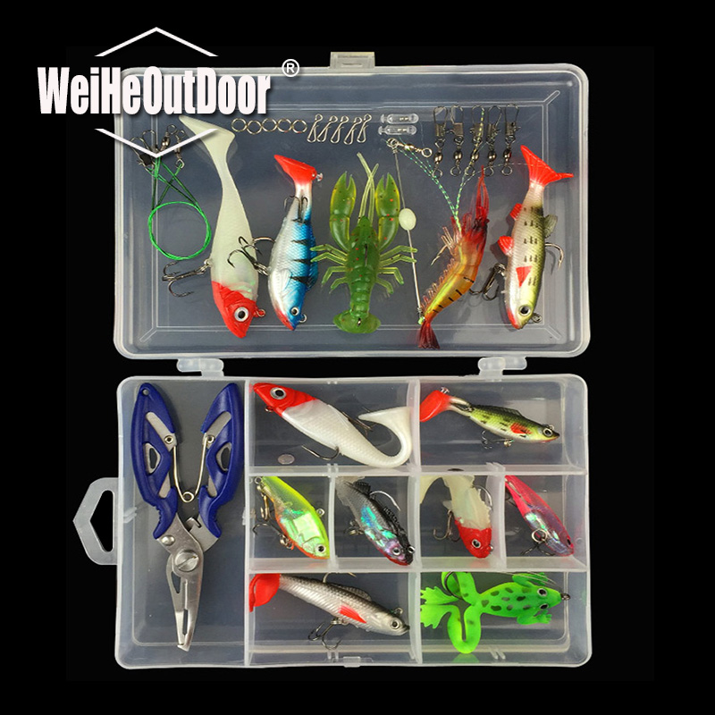 34pcs Lead Soft Fishing Lure Frog Shrimp Jig Lures Fishing Accessories Tools Tackle Box with Plier Wire Connector Ring Tackle 101pcs set almighty fishing lures kit with box hard soft bait minnow spoon crank shrimp jig lure fishing tackle accessories