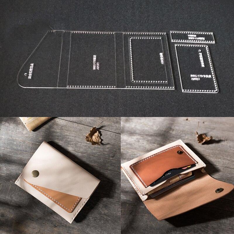 Diy artesanal de couro artesanato bolsa feminina carteira costura padrão acrílico estêncil modelo acessórios de costura 8x12x1.5cm