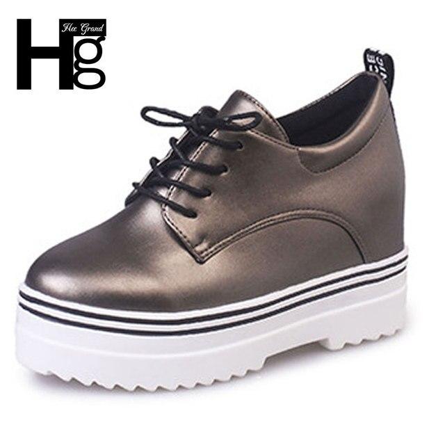 ХИ GRAND 2017 Мода Водонепроницаемый женская Обувь Новый Шнуровкой Платформы Повседневная Обувь Студент Для Женщин Size35-39 XWD4420