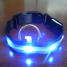 Nylon LED Pet Dog Collar Night Safety Anti-lost Flashing Glow Collars Supplies 7 colors S M L XL Size for pet dogs