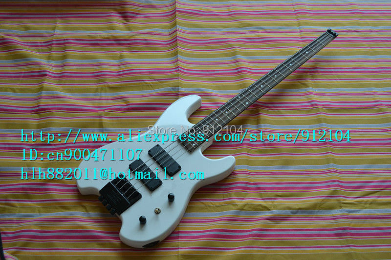 free shipping new headless electric bass guitar in white with basswood body made in China+foam box F-1204 finish bass guitars electric chinese 5 string bass butterfly bass guitar free shipping made in china