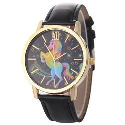 Модные мужские и женские детские часы Единорог красочные пятиконечная звезда ремень кварцевые часы