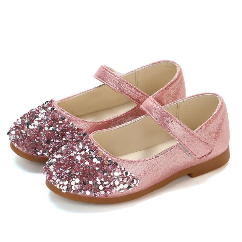 Princess Shoes Pink Gold Silver Girls Shoes Glitter Rhinestone Sequins Kids Flats Children Wedding Party Dress Shoes
