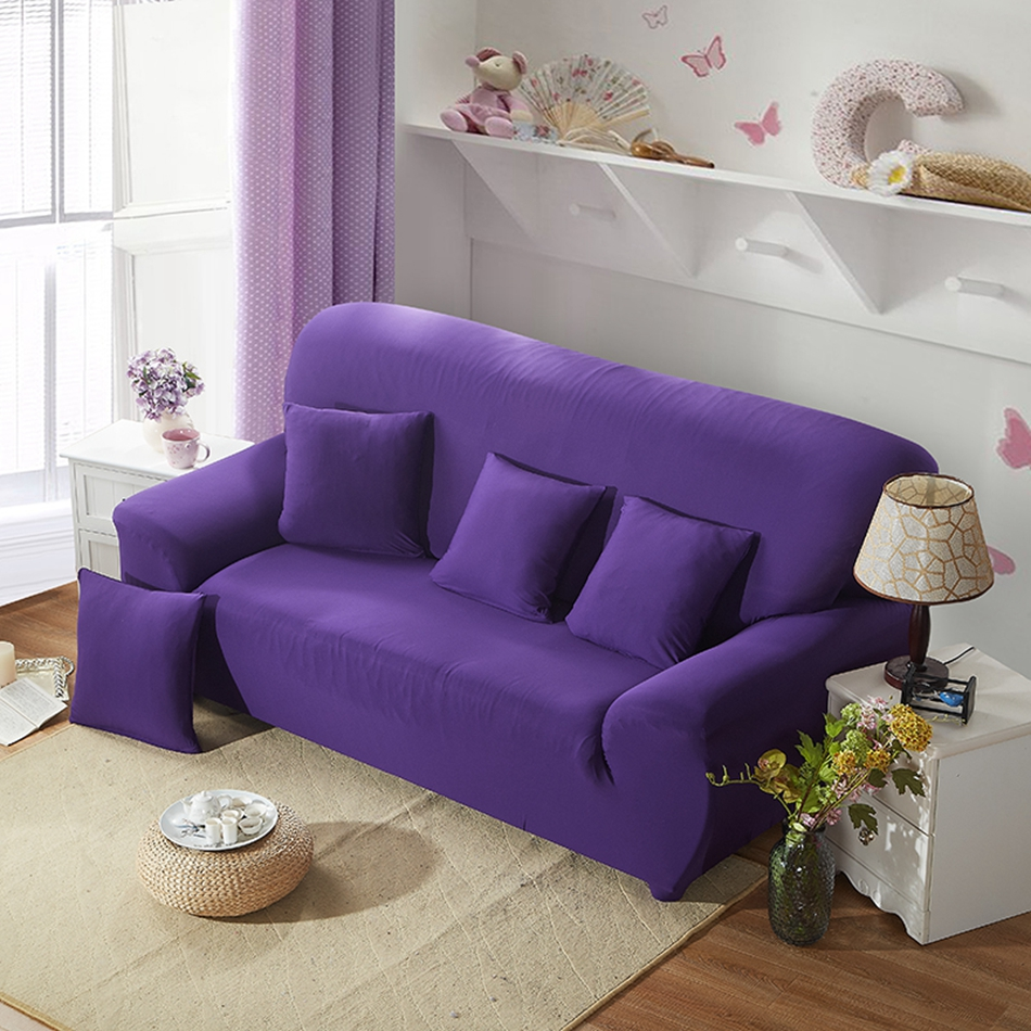 Purple Solid Color Elastic Polyester Covers Universal