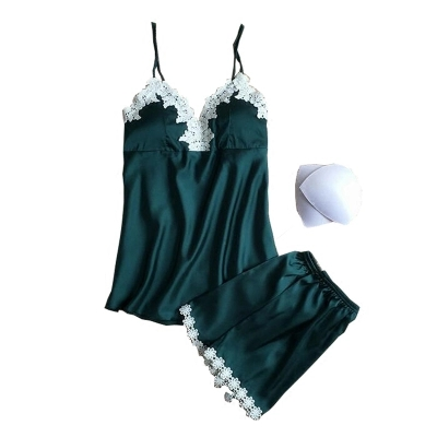 New Design   Pajamas     Sets   Summer Autumn Women Sexy Sleepwear   Set   Silk Embroidery Shorts Indoor Clothing Soft Silky Home Suit Femme
