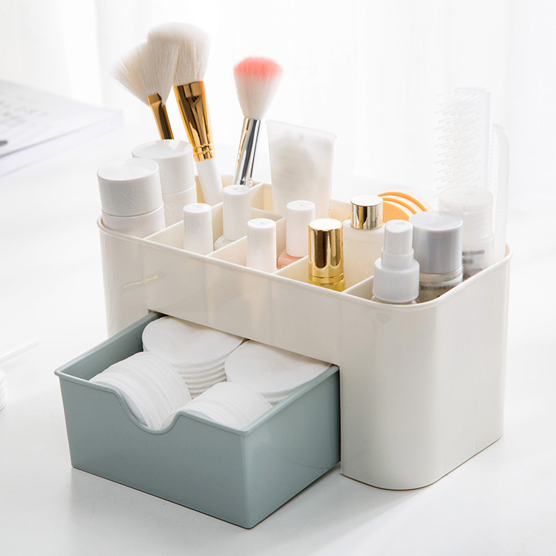 Plastic Cosmetic Storage Box Jewelry Sundries Desk Container with Small Drawer J2Y
