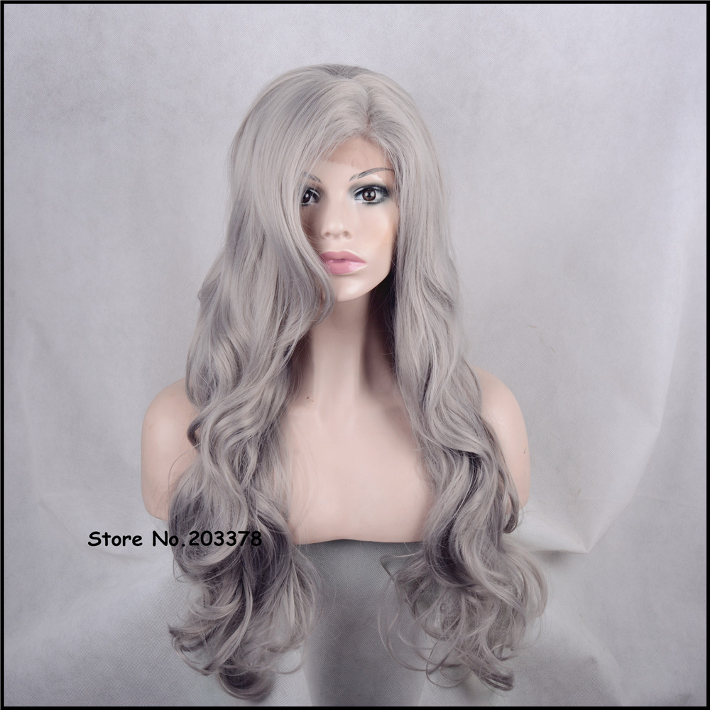 ФОТО Strong Beauty Long Gray/Grey Curly Wigs Japan Kanekalon Synthetic Hair Quality Full Wigs For Black Woman