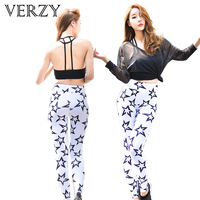 New Sports Wear Set Women Yoga Sets Fitness Top Gym Shirt Five Star Pattern Sport Legging Breathable Tights Women's Sports Suits