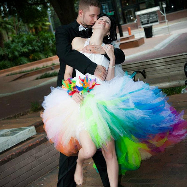 Stylish Rainbow Colored Wedding Dresses Short Front Long Back Wedding Gown  Halter Lace Up Bridal Dress