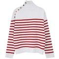 Полосатый свитер для женщин марка взлетно-посадочной полосы моды шерсти трикотажные толстые полосатые пуловеры свитер джемпер с кнопкой золото