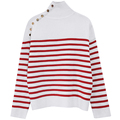 striped turtleneck sweater for women brand runway fashion wool knitted thick striped pullovers sweater jumper with gold button