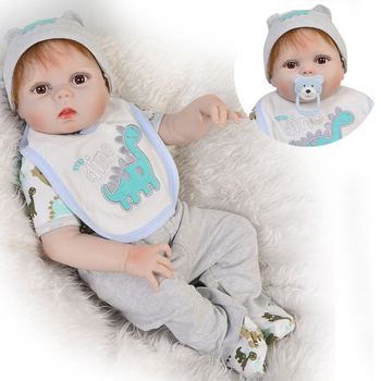 "Reborn bebe Menino boneca 23""57cm full silicone reborn baby boy dolls for girls gift bb reborn realistic newborn doll toys"