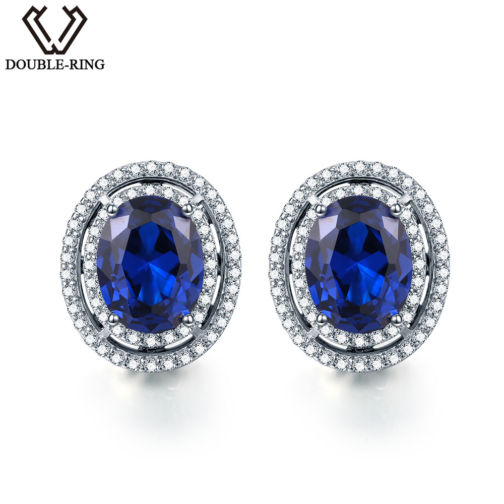 DOUBLE R 925 sterling silver stud earrings for women Created Sapphire Gemstone Bridal Vintage costume Jewelry