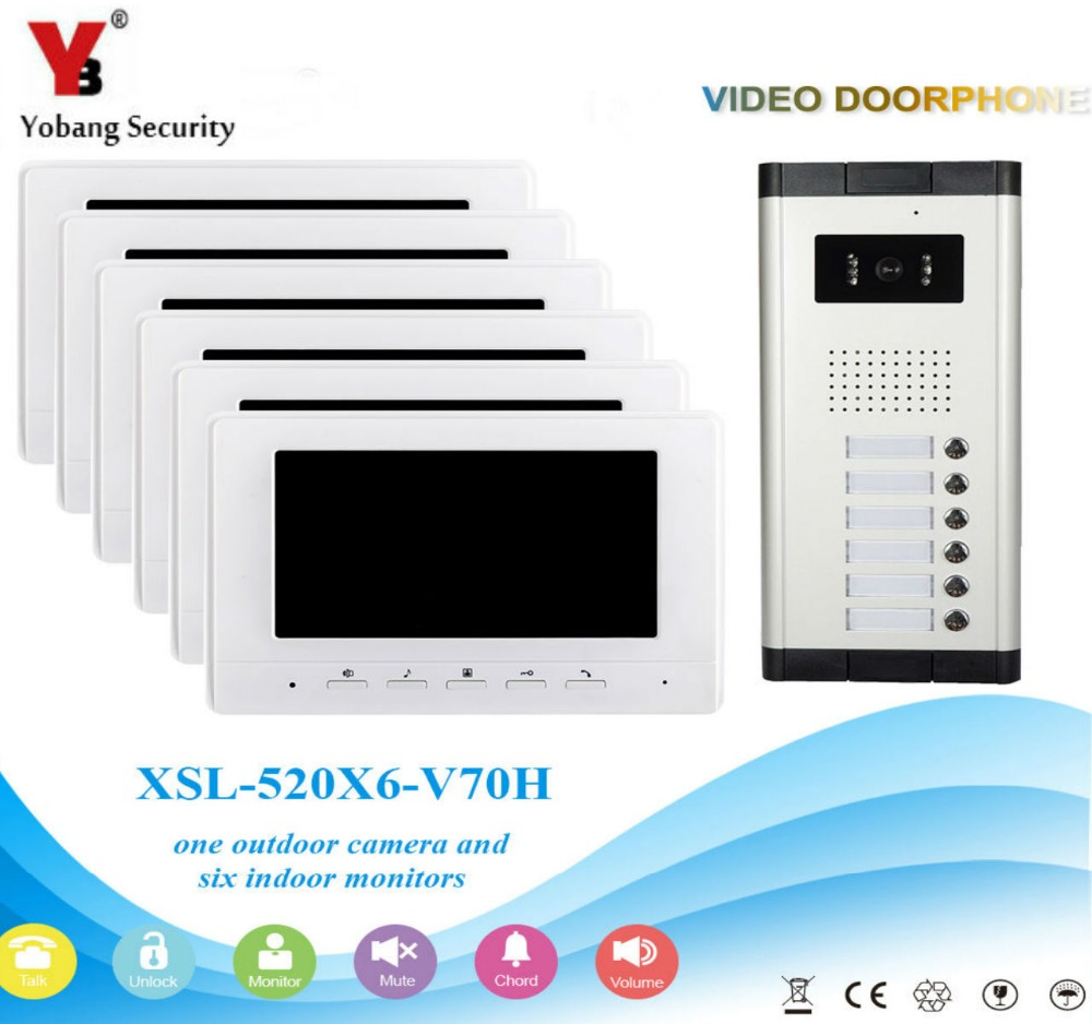 Yobang Security Visual Home Video Intercom 7'Inch Monitor +1000TVL Camera Video Doorbell Unlock Intercom System For 6 Apartment yobang security free ship 7 video doorbell camera video intercom system rainproof video door camera home security tft monitor