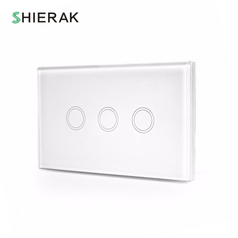 SHIERAK US Standard Wall Light Touch On/Off Switch 3 Gang 1 Way Crystal Glass Panel Touch Luxury Switch AC 110-240V 120*72 Home eruiklink us standard smart wi fi switch button glass panel 1 gang touch light switch panel wifi alexa echo wall switch 110 240v