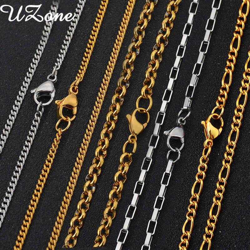 UZone Stainless Steel Curb Rope Box Snake Link Chains Necklace Gold-color 5 Styles 60CM Water-wave Chain Necklace For Men Women