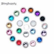 20mm acrylic crystal rhinestone buttons flatback embellishment can mix colors 100PCS/lot(BTN-5543)