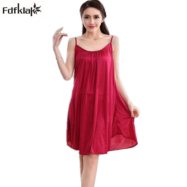 Women night dress sleepwear sexy spaghetti strap loose home wear nightgowns female plus size nightshirts XXL 3XL 8 colors A86