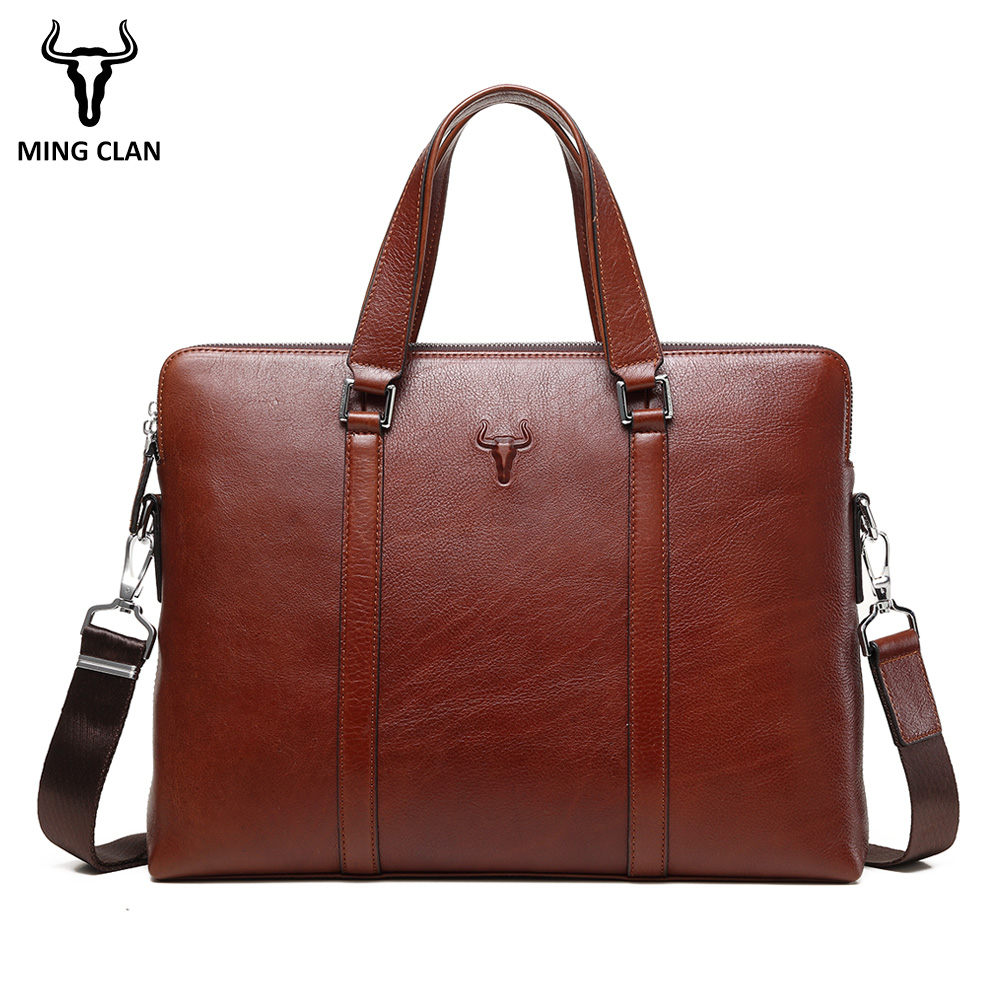 15 Leather Laptop Bag Made of Italian Leather Bags Double Zipper Briefcase Handle Shoulder Strap Durable Office Bags for Men italian made simple