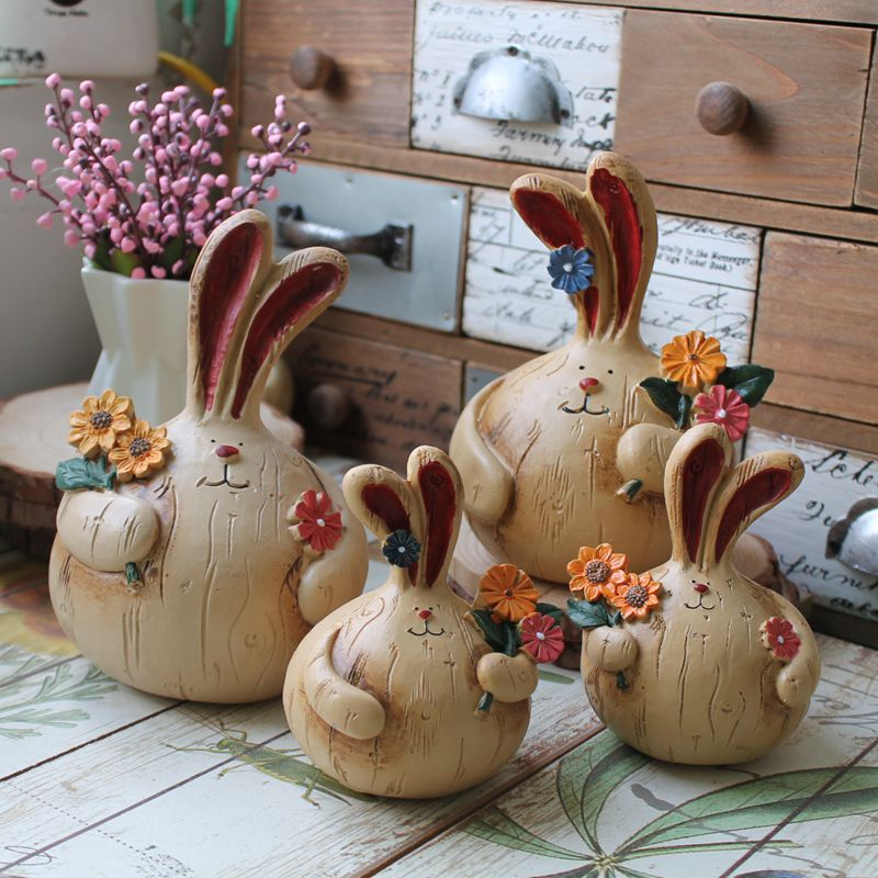 Aibei zakka europe resin rabbit figurine 2pcs set long for Home decorations gifts