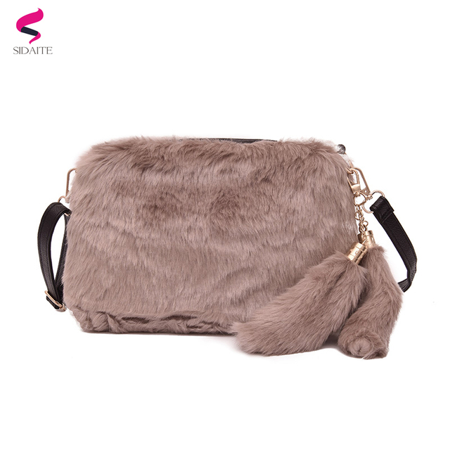 2017 Winter Faux Fur Bag with Pendant Small Messenger Bags for Women Female  Crossbody Bag Portable 2cc5cf03c44bb