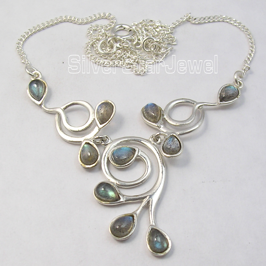 Chanti International Silver BLUE FIRE LABRADORITE Gems BESTSELLER Necklace 16 3/4 Inches
