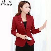 PEONFLY red/black Single Button Ladies Blazers Women 2018 Spring Autumn Women Suit Jacket Blazer Femme Office Tops Coats S 3XL