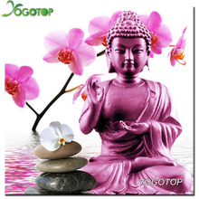 Diy Diamond Painting Orchid Buddha Full Rhinestones Cross Stitch Square Mosaic Diamond Embroidery Home Decoration VS246