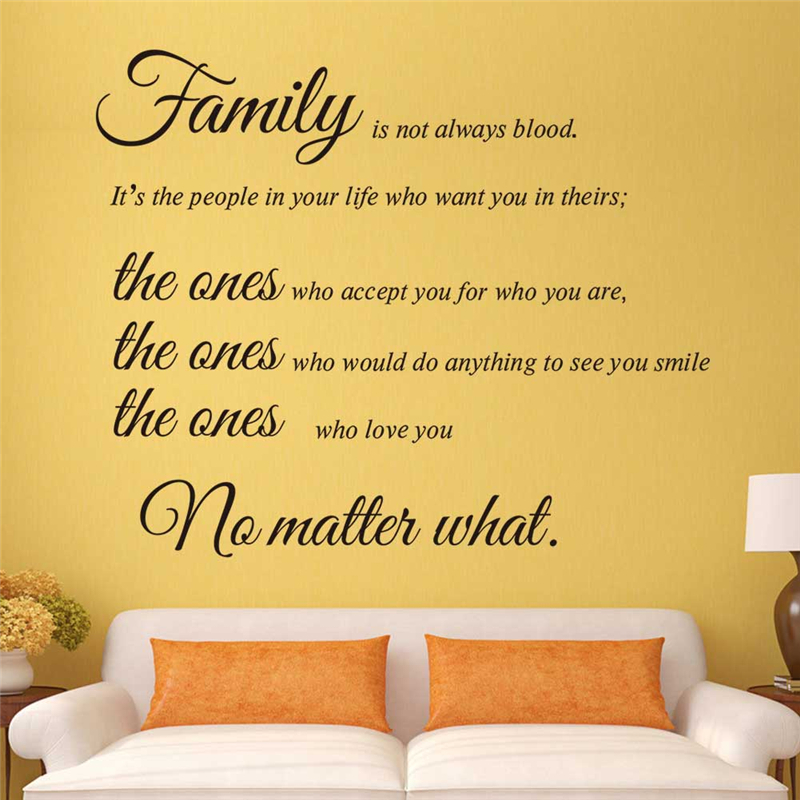 Living Room Wall Quotes: Family Is Not Always Blood Vinyl Wall Stickers Quotes